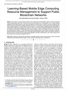 """""""Learning-Based Mobile Edge Computing Resource Management to Support Public Blockchain Networks,"""" IEEE Transactions on Mobile Computing, Early Access, Dec. 2019."""